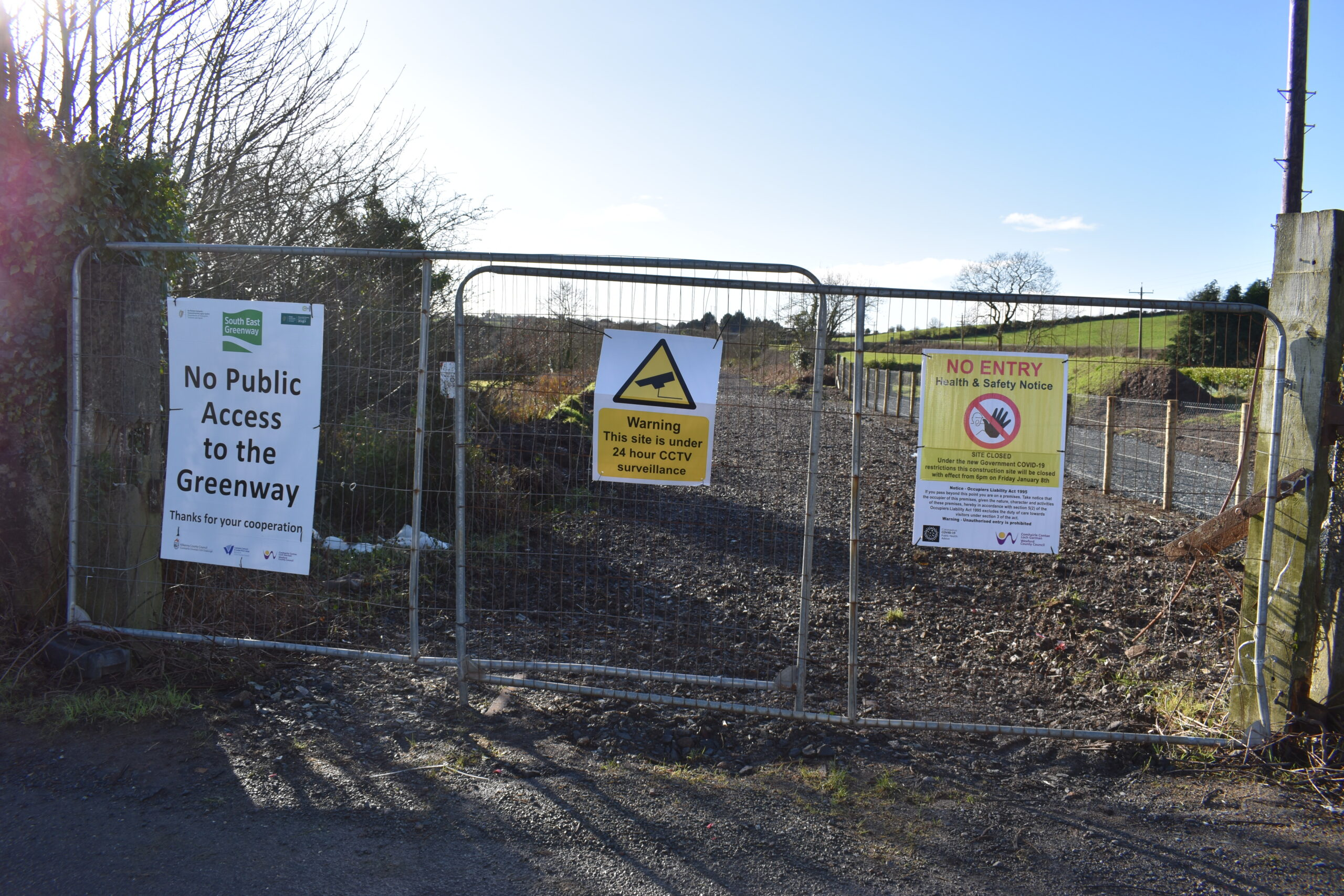 The Greenway construction site is currently closed and there is no public access allowed anywhere along the abandoned New Ross to Waterford Railway.